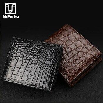 McParko crocodile leather wallet men Luxury genuine small for short purse bifold brown Black