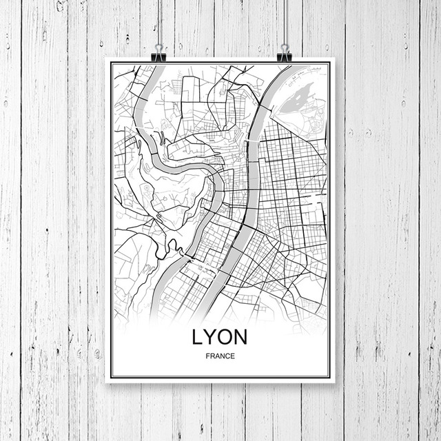 Lyon France World City Map Print Poster Abstract Coated Paper Bar