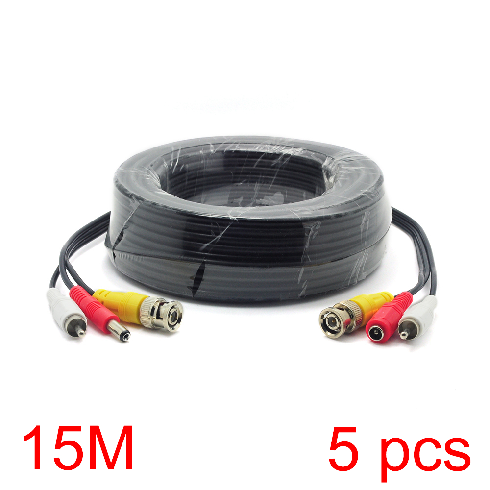 5x 15M/49FT BNC RCA DC Connector Video Audio Power Wire Cable For CCTV Camera