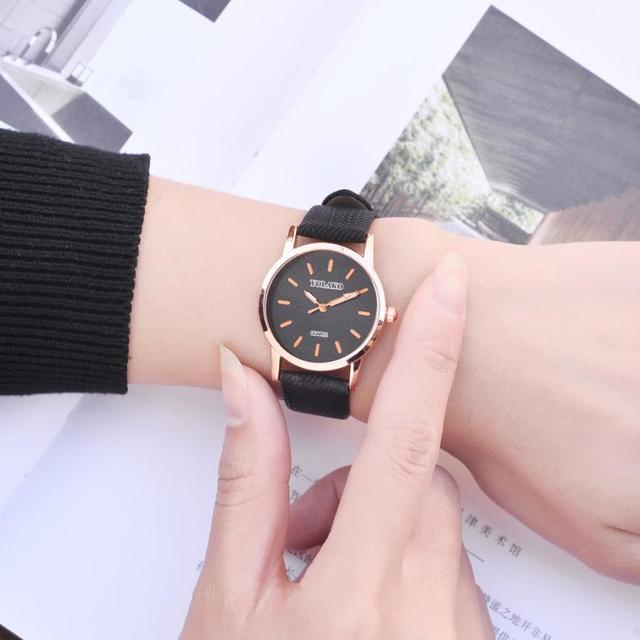 אופנה בנות גבירותיי שעוני יד 2018 כללי עור עסקים פשוט טמפרמנט יפה מזכרות נשים של קוורץ שעון # D