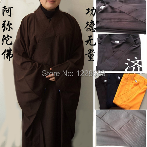 Shaolin Buddhist Monk Robes Suits Kung Fu Uniforms Gown Unisex Buddhist Clothing