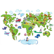 Buy maps wallpaper and get free shipping on aliexpress nursery decorations children world travel map wallpaper cartoon tree animals 3d vinyl wall stickers for kids gumiabroncs Choice Image