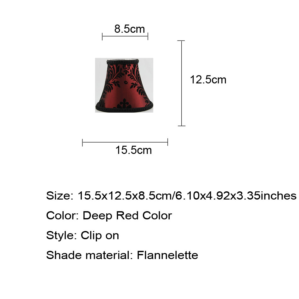 DIA 15.5cm/ 6 inch Set of 6 Wine Red color Faux Silk Clip On Chandelier Lamp Shades, Clip on-in Lamp Covers & Shades from Lights & Lighting    2
