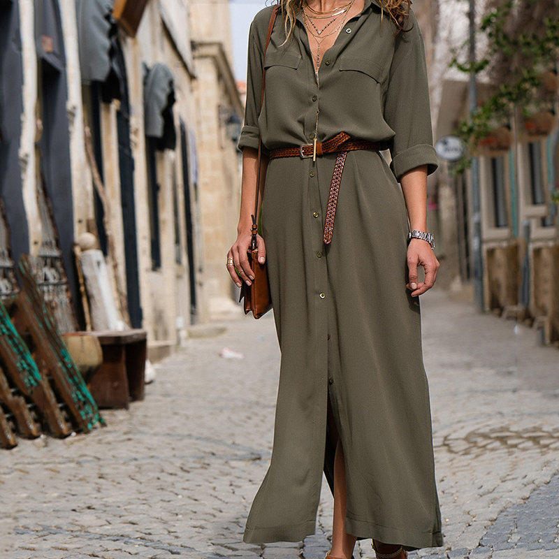 Women Sexy Long Shirt Dress Office Lady Casual Work Elegant Dresses Turn Down Collar Long Sleeve Side Split Blouse Maxi Dress