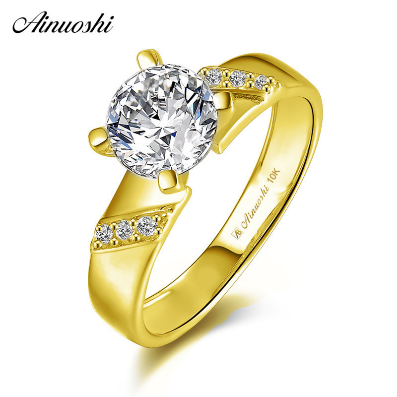 AINUOSHI 10k Solid Yellow Gold Ring 1.25 ct Round Cut SONA Diamond Woman Wedding Engagement bijoux Generous Stripes Bridal Bands