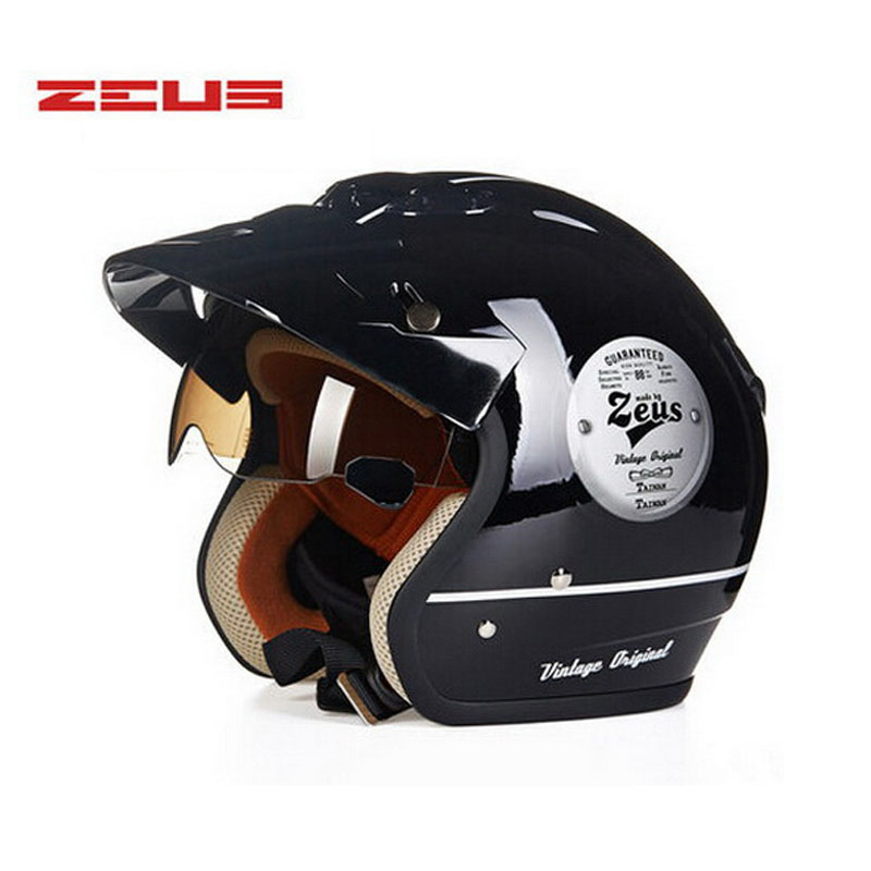 ZEUS Inner UV Visor open face jet motorcycle helmet,electric scooter ZS-381c chopper motorbike 3/4 helmet for men women цена