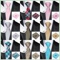 Hi-Tie 20 Colores Conjunto Corbata Para Hombre de Poliéster Corbata Hanky Gemelos Novedad Gravatas Corbatas Lazos para La Boda de Navidad partido