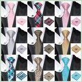 Hi-Tie 20 Colors Novelty Polyester Neck Tie Set Mens Tie Hanky Cufflinks Gravatas Corbatas Ties for Wedding Christmas Party