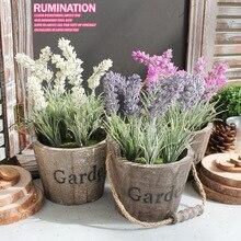 Künstliche blumen künstliche pflanzen flores artificiales holz eimer Lavender Silk dekorative blumentopf simulation