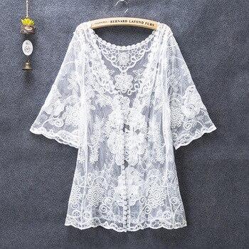 Summer Cardigan Kimono Feminino Off White Shirts Women 2019 Korean Embroidery Blouse Mesh Transparent Hippie Boho Tops