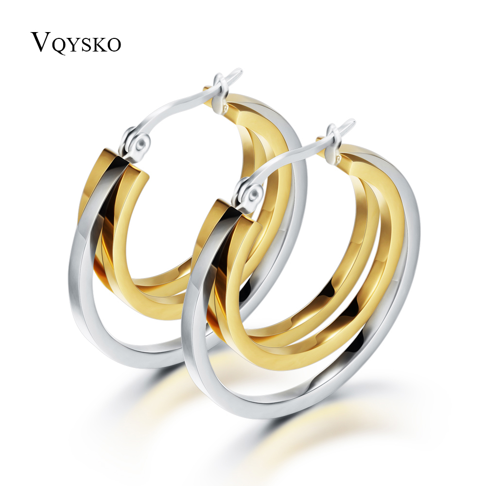 HOt Sale Fashion Jewelry Stainless Titanium Steel Silver Smooth Hoop and Gold Wings Women's Hoop Earrings glitter hoop stud earrings