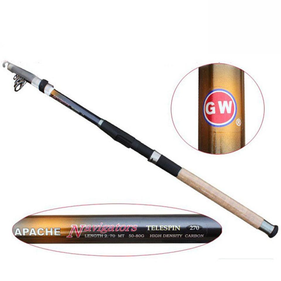 Top Quality 100% Carbon superhard spinning telescopic fishing rods carp fishing pole 6 segments 2.1M 2.4m GW Apache Navigators