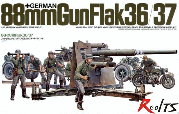 RealTS TAMIYA MODEL 1/35 SCALE Military Models #35017 German 88mm Gun Flak 36/37