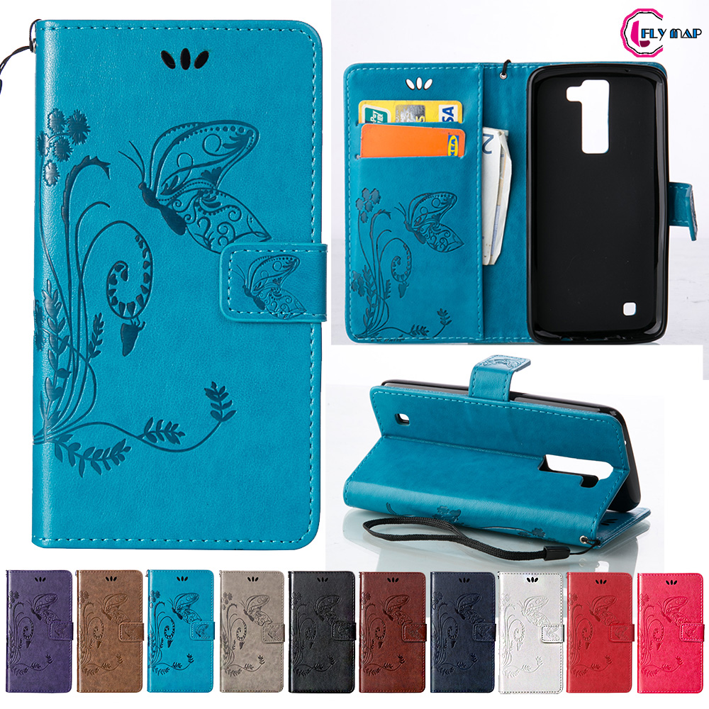 Coque for LG K8 K350 E Case Phone Leather Cover for LG K 8 LGK8 K350E K350N LG-K350E K 350 350N Retro Butterfly Wallet Flip Case