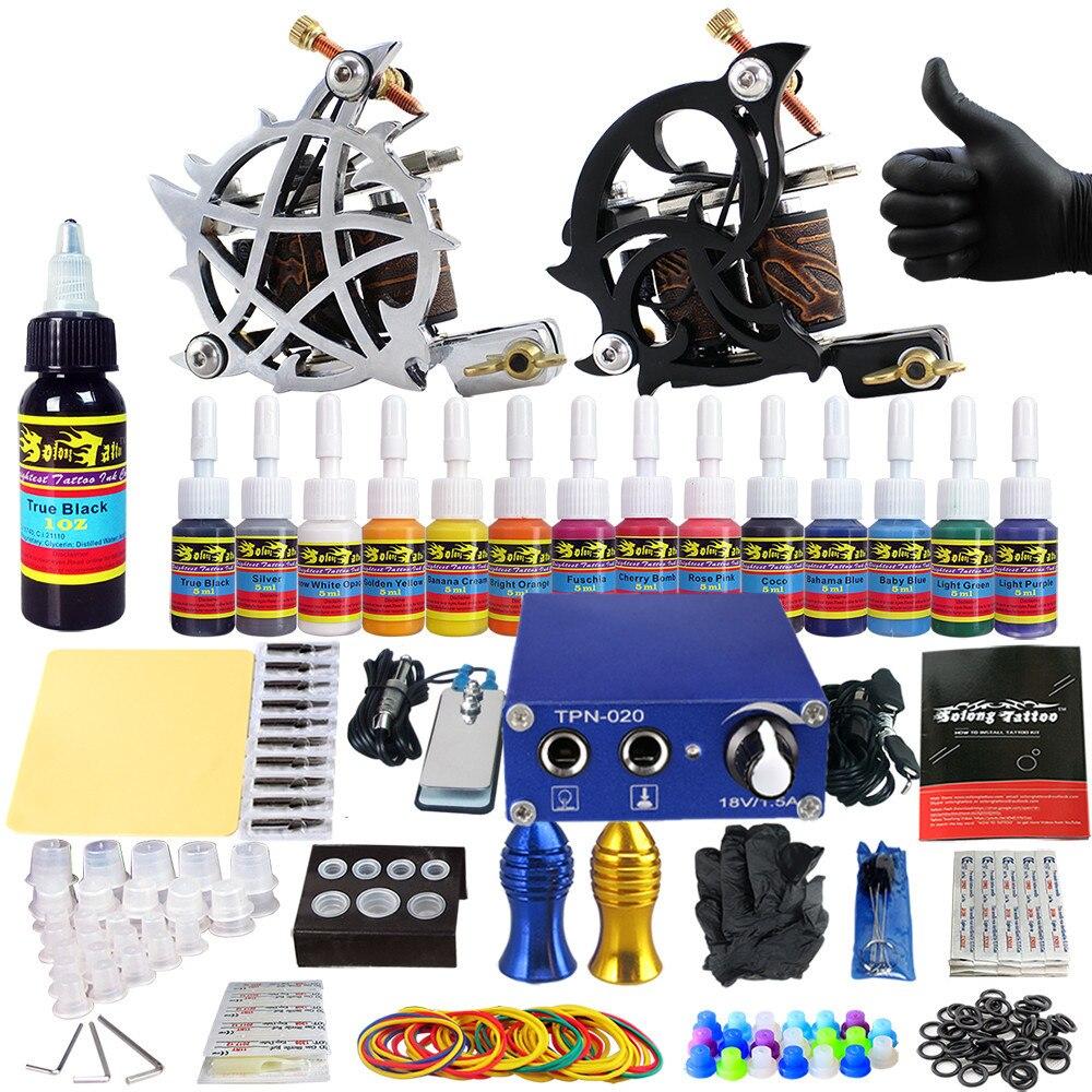 Tattoo Sets Maschine Für Liner Shader Clip Schnur 2 Guns Neue Ankunft Kit Licht Gewicht Praxis Haut 14 Farbe Tinte Sigment Tk203-24 Schönheit & Gesundheit