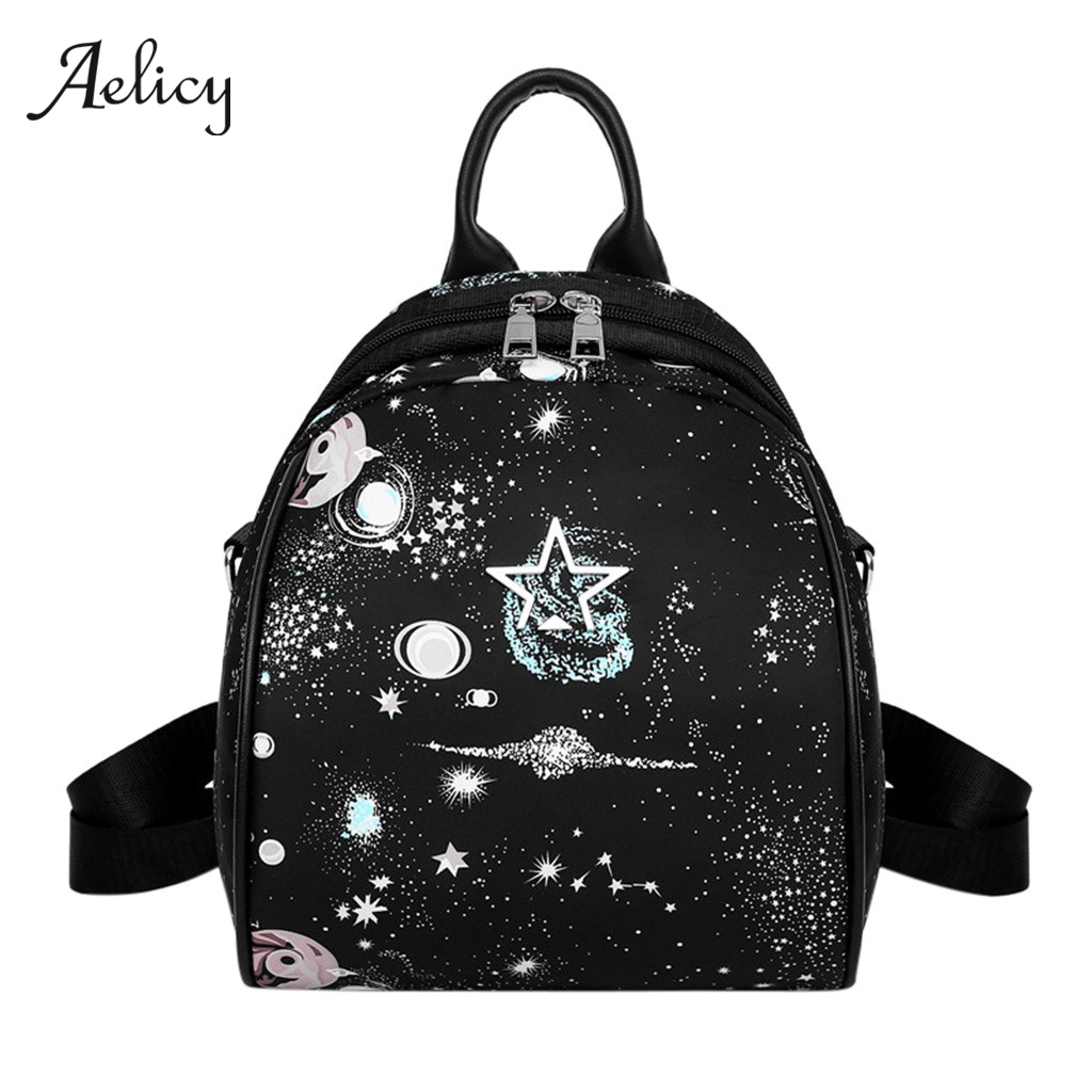 Aelicy Small Backpacks Women Nylon Oxford Starry Pattern Backpacks Waterproof Star School Bags Lady Travel Fashion KnapsackAelicy Small Backpacks Women Nylon Oxford Starry Pattern Backpacks Waterproof Star School Bags Lady Travel Fashion Knapsack