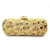 Sparkly Handmade Crystal Banquet Handbag Rhinestone Crystal Clutch Evening Bags Online For Cheap Gold Green Clutch