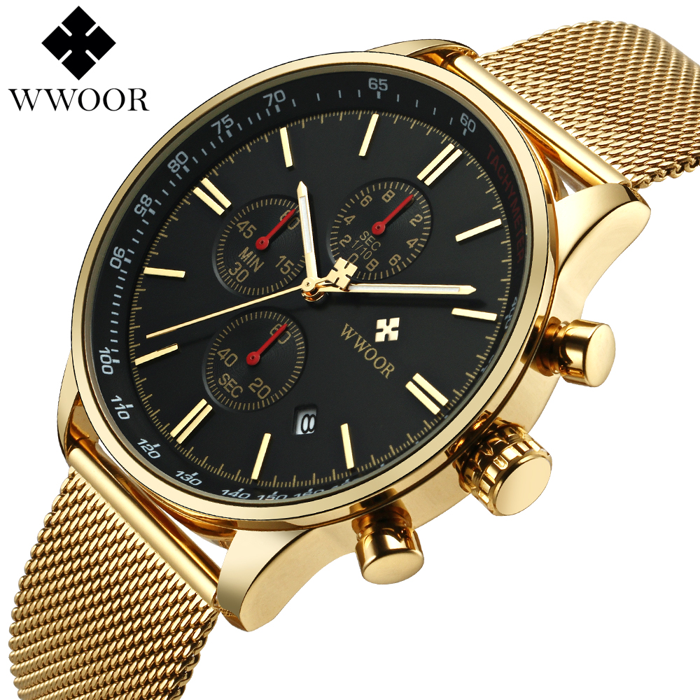 WWOOR New Luxury Brand Men's Watches Ultra Thin Stainless Steel Mesh Band Sport Quartz Watch Men Wristwatch Fashion Chronograph