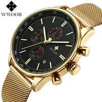 WWOOR New Luxury Brand Men's Watches Ultra Thin Stainless Steel Mesh Band Sport Quartz Watch Men Wristwatch Fashion Chronograph
