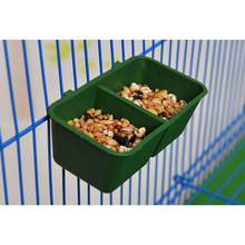 2 in 1 Parrot Food Water Bowl Dual Feeding Cup Plastic Bird Pigeons Cage Feeder Bird Parrot Pet Aviary Water box rectangle/Round(China)