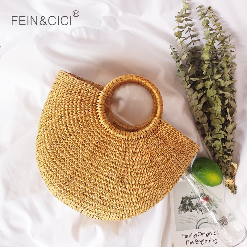 Rattan Bag beach wicker straw bucket bag summer totes women boho braided handbag 2018 high quality drop ship wholesale
