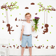 Cute Children Wall Sticker Art Decal Home decor for Mural Stickers Cute Decals PVC Christmas Living Room Bedroom Decoration все цены