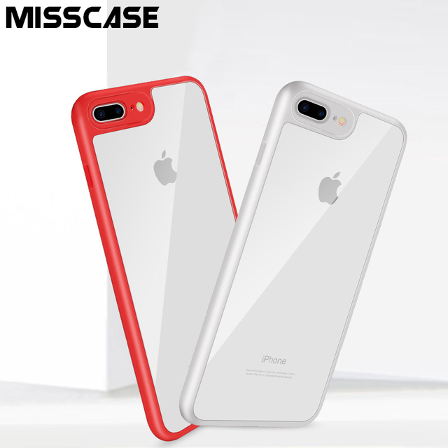 Case for iPhone 7,MISSCASE Soft Silicone Frame with Transparent Clear Crystal PC Hard Cover 2 in 1 Cases Shell for iPhone 7