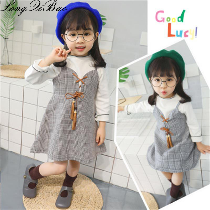 5d55f9b83 Baby girl lady Korean version set 2018 new girls autumn bottoming shirt +  houndstooth strap dress two piece -in Dresses from Mother & Kids on  Aliexpress.com ...