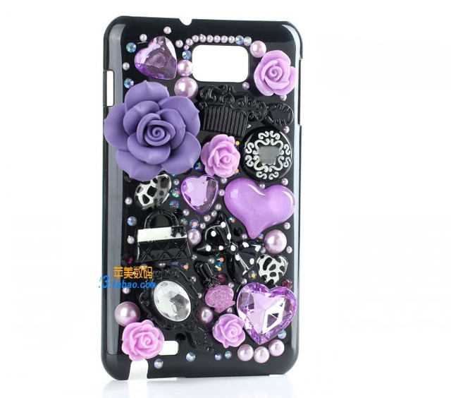 free shipping resin  flower bow heart  black case for Samsung Galaxy s2 Hercules T989 or sprint d710 cover [JCZL DIY Shop]