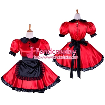 lockable Sissy Maid Dress Satin maid Uniform cosplay costume Tailor-made[G1362]