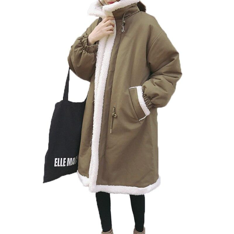 Harajuku Jacket Women 2018 New Winter Lamb Wool Coats Ladies Plus Size Long Loose Warm Cotton Outerwear Parkas Coat Female X20