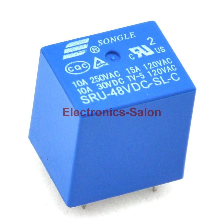 ( 100 Pcs/lot ) 48V DC Coil SPDT Power Relay, 10 Amps. SRU-48VDC-SL-C.