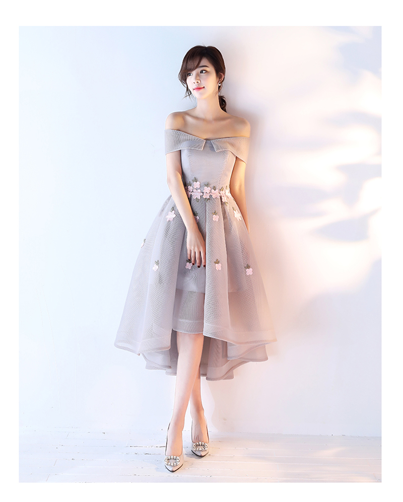 c803bfbb8d06 Black Silver Short Formal Evening Dresses Tea Length Prom Party Gowns High  Low Open Back Handmade Vestido De Noche Custom Made-in Evening Dresses from  ...