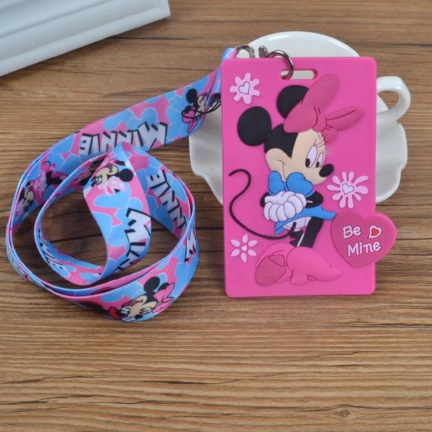 1Pcs Cartoon Minnie Lanyard ID Badge Holder Key Neck Strap Kids Gifts QW-354
