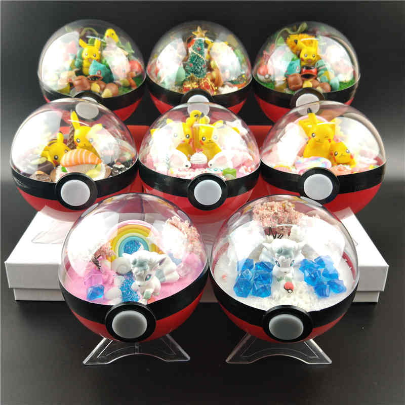 10 Style Pokeball XY Figures Eevee Pikachu Monster Bulbasaur Handcraft Figures Brinquedos Collection Christmas Pocket Toy Gifts