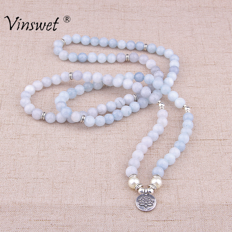 Women Bracelet Natural Stone Bracelet Beads Aquamarin with Lotus Charm Yoga Bracelet 108 Mala Necklace for Men Women