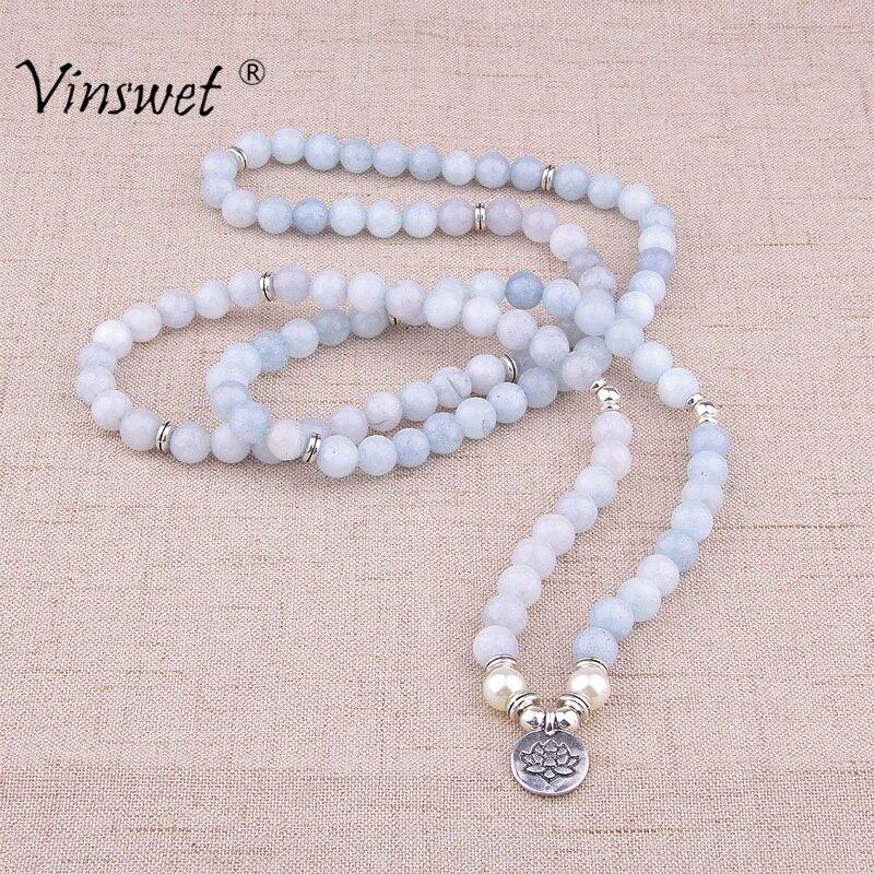 Women Bracelet Natural Stone Bracelet Beads Aquamarin with Lotus Charm Yoga Bracelet 108 Mala Necklace for Men Women