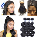 Alicrown 360 Lace Frontal Closure With Bundles With Baby Hair 7A Body Wave 360 Frontal With Bundles 2pc/3pc Bundles And Closure