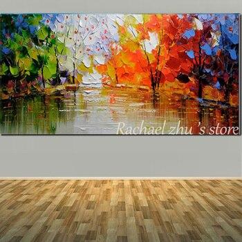 גדול גודל יד צבוע מופשט צבע עץ נוף שמן על בד קיר תמונת סלון חדר שינה משרד בית תפאורה