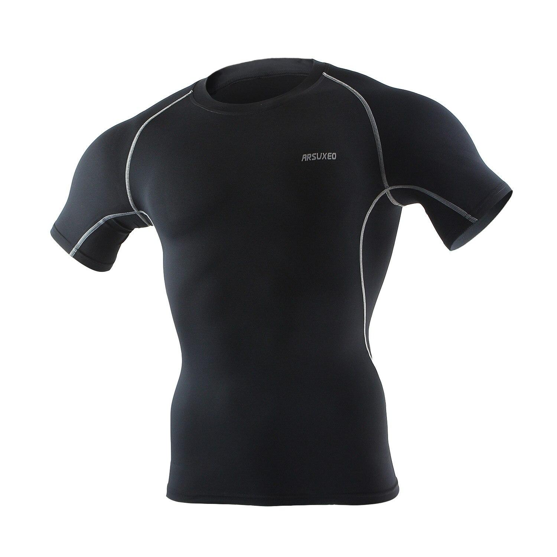 Arsuxeo camisa do ginásio dos homens de manga curta ajuste seco respirável compressão musculação fitness t shirt treinamento fitness correndo jérsei