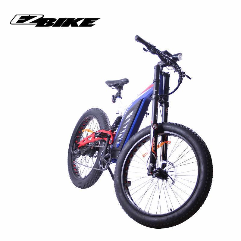 EZBIKE Elektrische Fiets luxe 26 Banden 48V 1500W motor Volwassen Elektrische Mountainbike 9 Speed Li-on batterij Vouwen ebike voor mannen