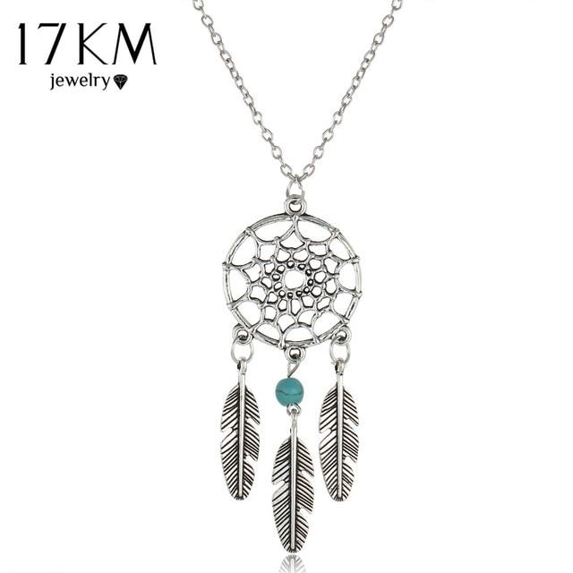 17KM Vintage Dream Catcher Leaves collier Pendant Necklace kettingen Silver Colo