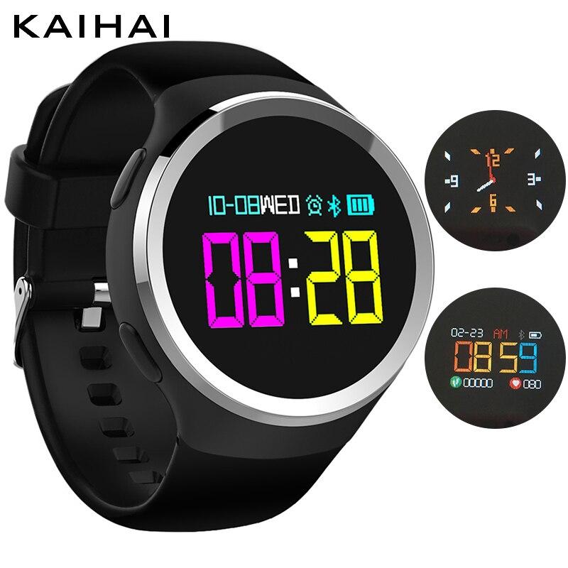 KAIHAI красочные круглый нержавеющая сталь случае Спорт Фитнес браслет умные часы приборы для измерения артериального давления кислорода