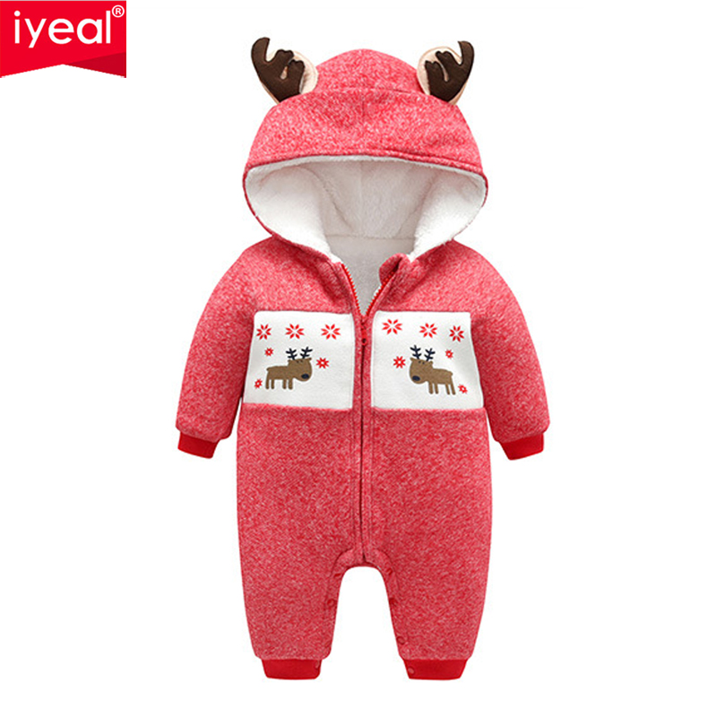 Boys' Baby Clothing Rompers Winter Thick Toddler Kid Baby Boys Girls Deer Hooded Romper Jumpsuit Outfits Set