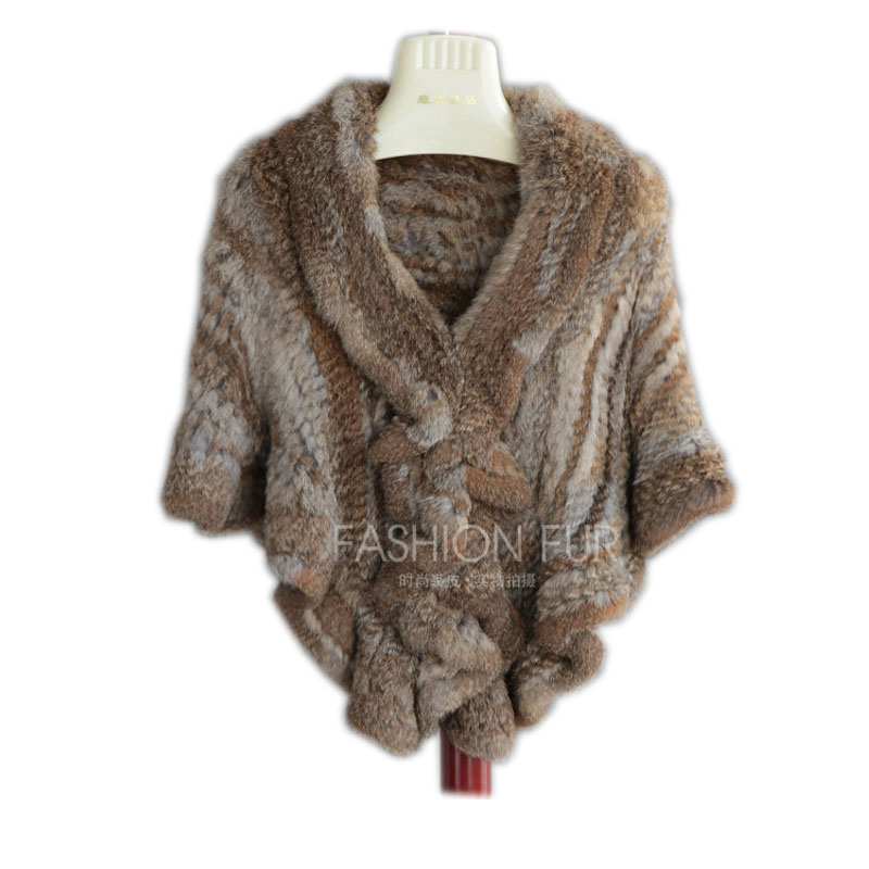 7COLORS Product real rabbit fur knitted cape ruffle hem rex rabbit fur cloak cape Women Genuine