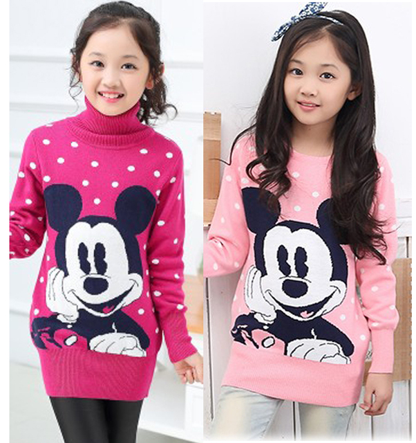 ee0585ac9a Big Girl Turtlenecks Pullover Mouse knitted Teenage sweaters Kids sweater  for Teen girls children s clothes pull