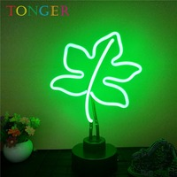 TONGER Green Leaf Glass Neon Sculpture Neon Art Game Room Home Decoration Desk Wall Lamp Neon Sign Museum Neon gas TG1007
