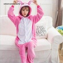 Kigurumi Unisex Flannel Adult Animal Onesies Cosplay Costume Pajamas Pink Rabbit Sleepsuit Sleepwear Pyjamas Costumes hoodies