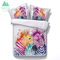 WAZIR 3D Printed Color Zebra Comforter Bedding Sets Duvet Cover Pillowcase bed sheet 3pcs Bedclothes Bedroom Decor Home Textile
