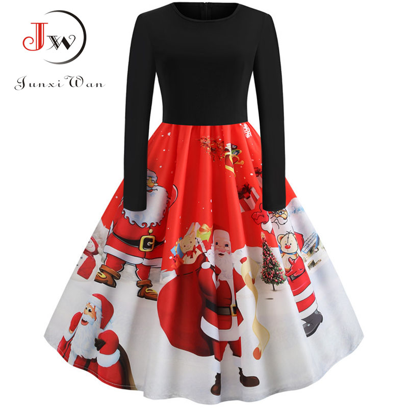 Winter Women Christmas Dress Long Sleeve Print Vintage Party Dress Elegant Black Patchwork Bodycon Dresses Vestidos Plus Size 7